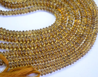 "10""-5mm-Amazing Rare-Vivid Beer Quartz-Smooth Polished Roundelle Beads Strand-AAA"