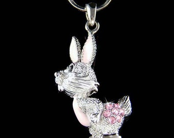 Swarovski Crystal Pink Enamel paint Hare Easter Bunny Rabbit Pendant Chain Cute Womens Necklace Girls Jewelry Christmas Best Friend Gift New