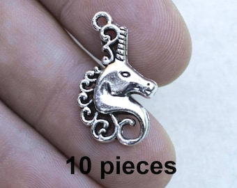 Unicorn Charms,  #CH385, Fantasy Charms, Antique Silver Charms, Silver Unicorn Charms, Jewelry Supplies, Alloy Metal Charms, Findings