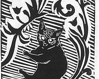 Cute cat art Original handpulled  linocut print At Home
