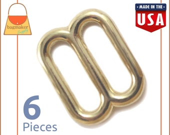 "5/8 Inch Slides for Purse Straps, Shiny Brass Finish, 6 Pieces, Handbag Bag Making Hardware, 5/8"", BKS-AA039"