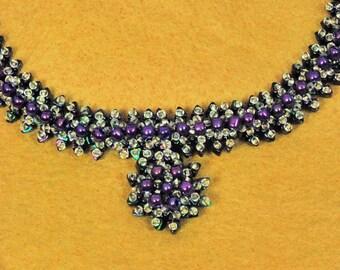 Beaded Purple Sunbrust Necklace