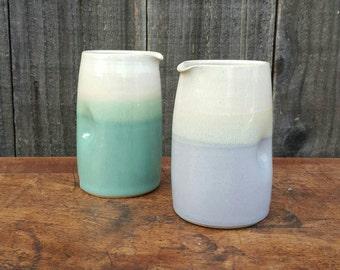 Tall dimple jug, handmade stoneware ceramic. Lavender blue + white