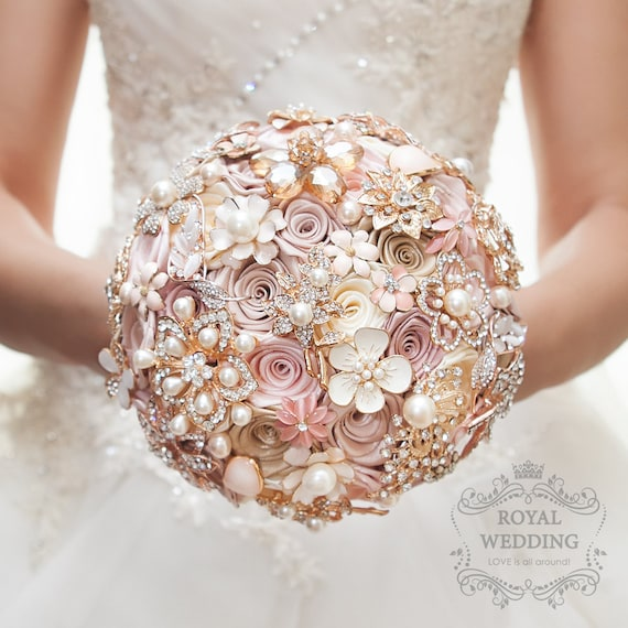 Cascade Fabric Brooch Bouquet Pink Ivory Brides Rose Gold