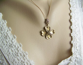 Dogwood Flower Necklace, Dogwood Necklace, Flower Necklace, Bronze Flower Necklace, Spring Necklace, Flower Petal Necklace, Dogwood