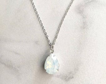 Wedding jewelry necklace - bridesmaid necklace - white opal pendant - Swarovski crystal - teardrop necklace
