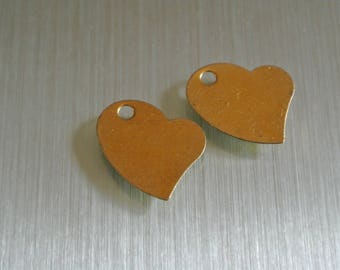 Set of 10 charms metal gold asymmetrical heart, 18 x 14 mm, hole: 2.4 mm, thickness: 1 mm