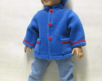 "Blue Fleece Coat and Hat for 18"" Boy Doll"