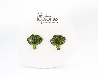 Broccoli Stud Earrings, cute vegetable earrings, kawaii, food jewelry, vegan vegetarian earrings, broccoli jewelry