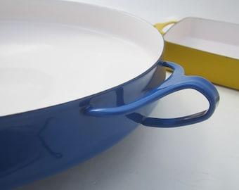 """Dansk Kobenstyle Paella Pan, Blue Enamel by Jens Quistgaard, 13"""" IHQ France. 1960's Mid Century Modern Casserole"""