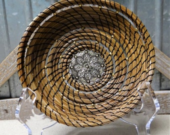 Black and Gold Pine Needle Basket Native American Pine Needle Coiled Basket Black and Gold Basket For Him Coiled Basket For Her Home Decor