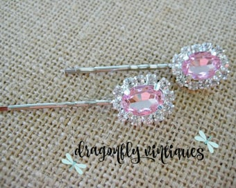 Hair Pins, Pink, Rhinestones, Wedding, Bridesmaids, Gift for Her  {15}