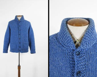 Vintage Shawl Collar Curling Sweater Blue Handmade Chunky Wool Knit - Large