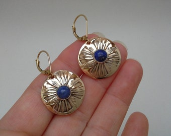Blue Lapis Earrings, Vintage Lapis, Lapis Earrings, Gold Filled Earrings, Gold Blue Lapis, Lapis Gold Earrings, Gold Disc Earrings