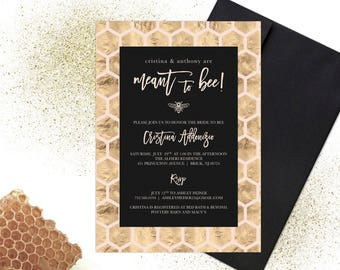 Printable Gold Foil Meant to Bee Bridal Shower Invitation