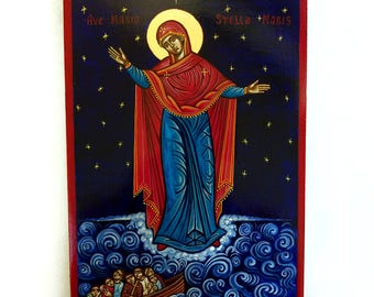 Our Lady Star of the Sea icon, Stella Maris , handpainted original 8x12 inches, MADE to ORDER