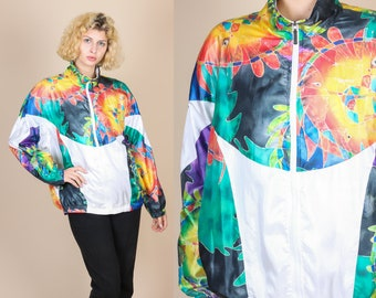 80s 90s Head Windbreaker Track Jacket - Extra Large // Vintage Abstract Multicolored Zip Up Tracksuit Tennis