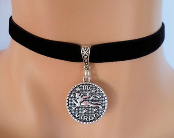 velvet choker, virgo choker, virgo necklace, stretch ribbon, black velvet, zodiac