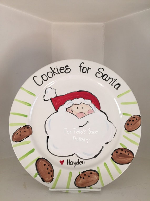 Cookies for Santa plate, personalized,  Christmas plate, santa cookie plate, hand painted pottery, plate