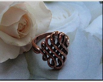 Solid Copper Celtic Band Ring 039 -  Available in sizes 5 to 10