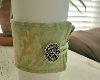 Multi-Colored Green Marble Java Jacket/Coffee Sleeve with Vintage Button/Coffee Cup Cozy/Reusable/Mug Cozy - FREE SHIPPING