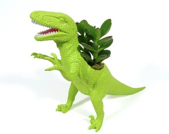 Johnny the PLANTED Velociraptor - the Original Toy Planter