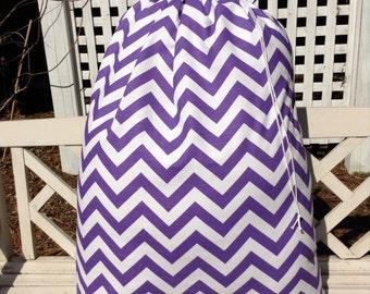 Purple Chevron Laundry Bag