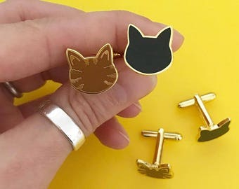 Cat Cufflinks - cuff links - best man gift - cat lovers gift - black cat - tabby cat - gift for him - gift for her - gold cufflinks