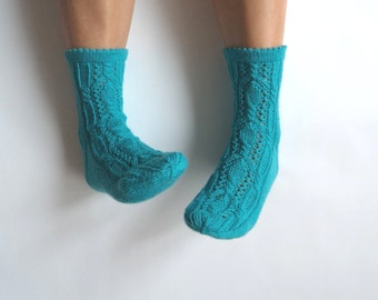 Luxurious hand knit wool socks. Intense turquoise. Autumn winter accessories. Made to order. Gift for her. Bed socks. Boudoir. House socks.