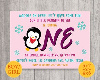 Penguin Invitation, Penguin Birthday Invitation, Little Penguin Invite, Winter Invitation, Penguin party, Winter birthday party, Snow invite