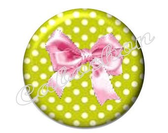 2 cabochons 25mm glass, bow, green and pink