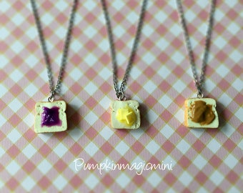 BFF Best Friend Butter / Jam / Peanut Butter Toast Bread necklace, Polymer Clay, BFF Jewelry, Food Jewelry