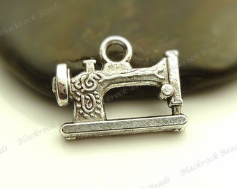 6 Sewing Machine Charms (Double Sided) 15x20mm Antique Silver Tone Metal - BC1