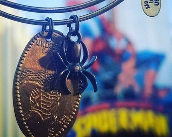 Spider-man Pressed Penny from Universal Orlando Islands of Adventure with Spider Charm on Bangle Bracelet