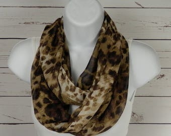 Brown Infinity Scarf, Animal Print Infinity Scarf, Brown and Tan Sheer Chiffon Scarf Handmade by Thimbledoodle