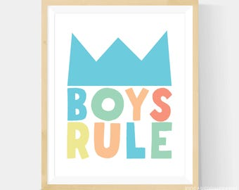 Boys Rule Room Decor, Boys Bedroom Art,  Boys Rule Art Print, Boys Rule Nursery Art, Boys Rule Wall Art, Pastel Scandinavian 8x10 Print