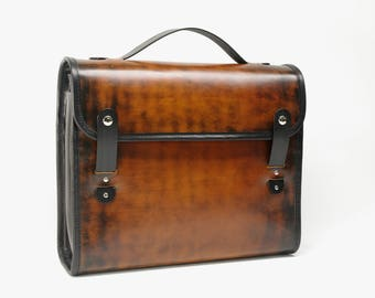 Leather Messenger Style Briefcase