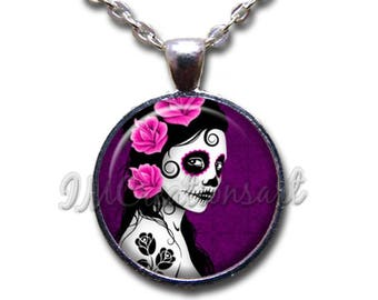 Sugar Skull Woman Glass Dome Pendant or with Chain Link Necklace