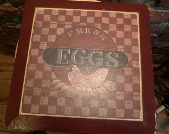 Fresh Eggs Sign, Farm Fresh Eggs, Chicken lying on Egg wall décor, rustic décor, farmhouse décor Chicken kitchen