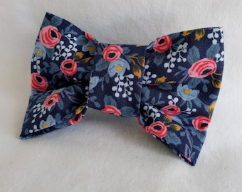 Rifle Paper on Navy Blue- Dog Collar Bow Tie- Pet Accessory- Pet Supplies-Tiny Chic Floral-Collar Attachment