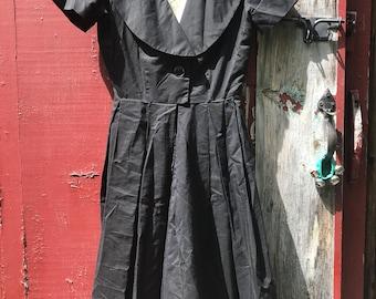 Vintage 1950's Black Cotton Tuxedo Swing Dress