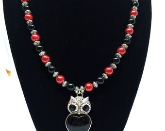 Red and black owl pendant (#9)