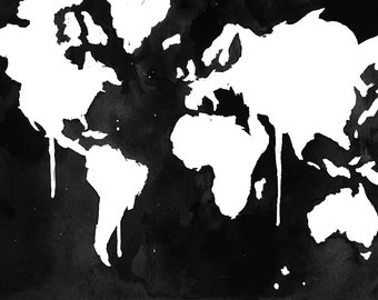 Watercolor World Map Illustration No. 5 print