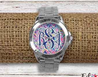 Monogrammed Lilly Inspired Watch - Psychedelic Sunshine