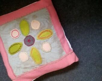 wool applique patchwork folk art cushion pink.green