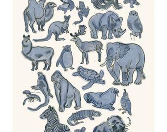 "Nursery wall art - Zoo print -  Animalia  -  8.3"" X 11.7"" - 4 for 3 SALE"