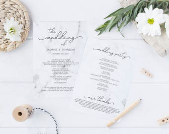 Printable Wedding Program, Wedding Program Template, Modern Marble, Ceremony Printable Template, Editable PDF Instant Download #E038