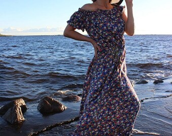 Cotton long for women for girls. wedding guest dresses with a sleeve with pockets. ruffle dress long dress, summer dress