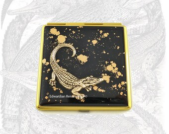 Antique Gold Crocodile Square Compact Mirror Inlaid in Hand Painted Enamel Neo Victorian Inspired with Color and  Personalized Options