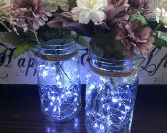 Custom flower light up Mason jar centerpieces